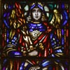 Michael the Archangel. This window was a gift of Mr. and Mrs. Michael Hannan. He was the builder of the church. He died after the window was made but before the church was completed.