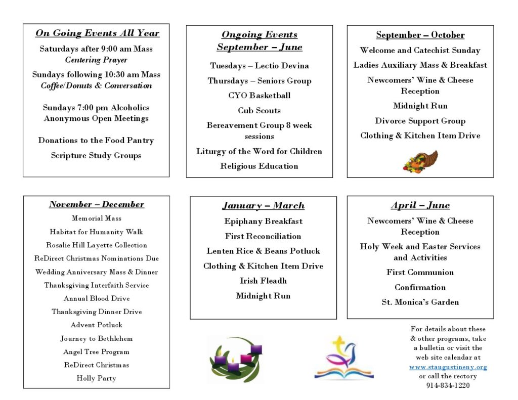 Year at a Glance - Church of St  Augustine